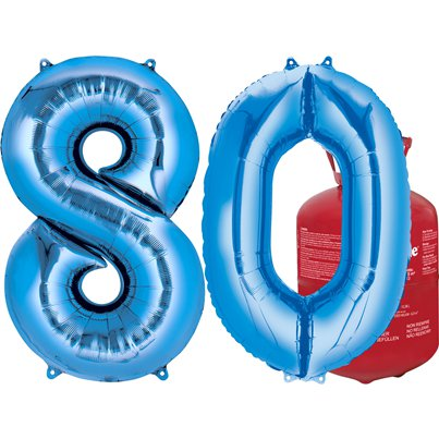 Age 80 Blue Foil Kit With Helium, Ribbon and Weights