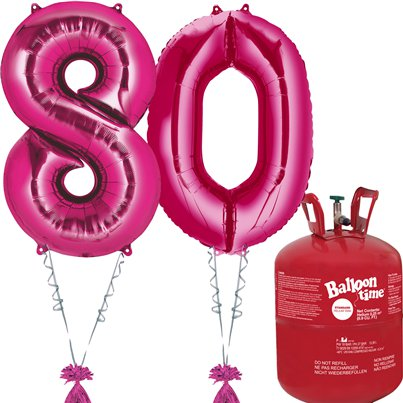 Age 80 Pink Foil Kit With Helium, Ribbon and Weights
