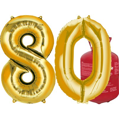 Age 80 Gold Foil Kit With Helium, Ribbon and Weights