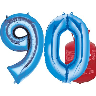 Age 90 Blue Foil Kit With Helium, Ribbon and Weights