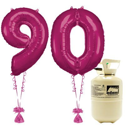 Age 90 Pink Foil Kit With Helium, Ribbon and Weights