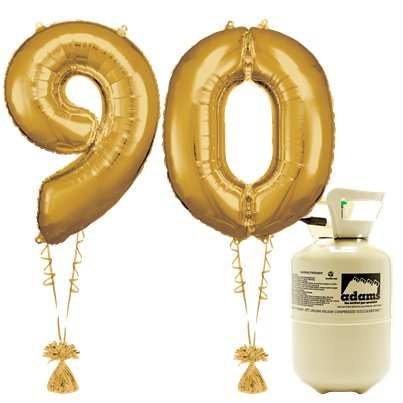 Age 90 Gold Foil Kit With Helium, Ribbon and Weights
