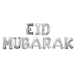'Eid Mubarak' Silver Balloon Kit - 16