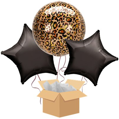 Leopard Orbz Balloon Bouquet - Delivered Inflated