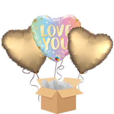 Love You Pastel Balloon Bouquet - Delivered Inflated