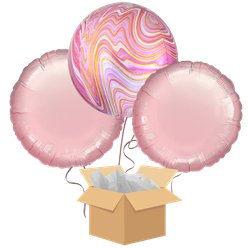 Pink Marblez Orbz Balloon Bouquet - Delivered Inflated