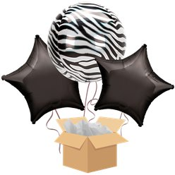 Zebra Orbz Balloon Bouquet - Delivered Inflated