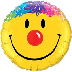 "Smile Face Multicoloured Round Balloon - 18"" Foil"