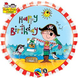 "Rachel Ellen Happy Birthday Pirate Balloon - 18"" Foil"