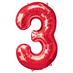 Red Number 3 Balloon - 34