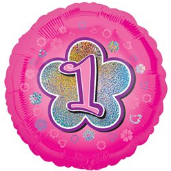 "1st Birthday Pink Flowers Balloon - 18"" Foil"