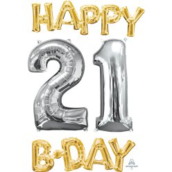 'Happy 21st Birthday' Gold & Silver Foil Balloons - 26