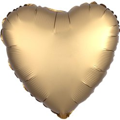 Gold Sateen Satin Luxe Heart Foil Balloon - 18
