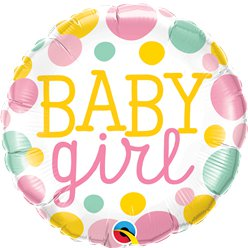 Dotty Baby Girl Foil Balloon - 18