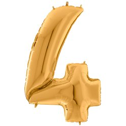 Gold Number 4 Balloon - 64