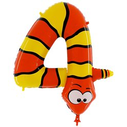 Snake Number 4 Balloon - 40'' Animaloon Foil