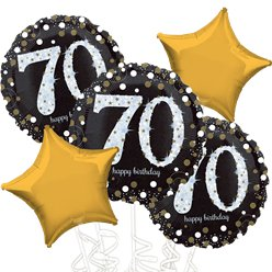 70th Birthday Gold Sparkling Celebration Balloon Bouquet - Assorted Foil 18
