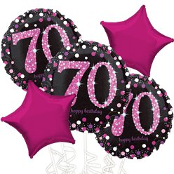 70th Birthday Pink Sparkling Celebration Balloon Bouquet - Assorted Foil 18