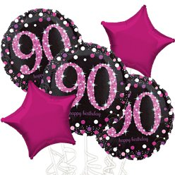 90th Birthday Pink Sparkling Celebration Balloon Bouquet - Assorted Foil 18""