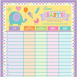 Baby Shower 'Guess the Baby Stats' Game