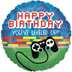 "Holographic Gaming Birthday Balloon - 18"" Foil"
