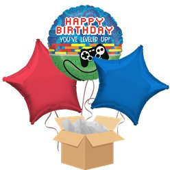 Gaming Happy Birthday Balloon Bouquet - Delivered Inflated