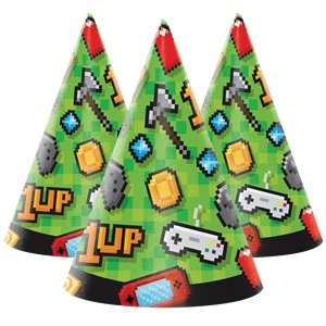 Game On Party Hats - Childs Cone Paper Hats