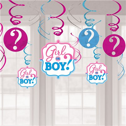 Gender Reveal Hanging Swirls