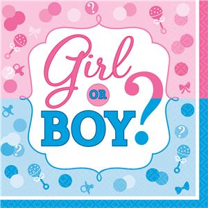 Gender Reveal Paper Napkins - 33cm