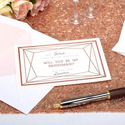 Geo Blush 'Will You Be My Bridesmaid' Cards