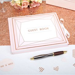 Geo Blush Wedding Guest Book