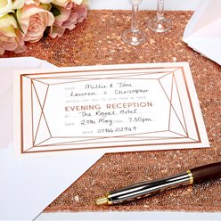 Geo Blush Evening Wedding Reception Invitation Cards
