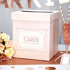 Geo Blush Wedding Wishes Post Box