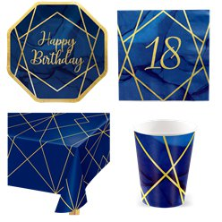 18th Navy & Gold Geode Party Pack - Value Pack for 8