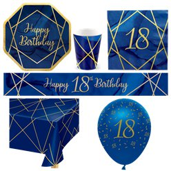 18th Navy & Gold Geode Party Pack - Deluxe Pack for 8