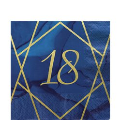 18th Birthday Navy & Gold Geode Napkins
