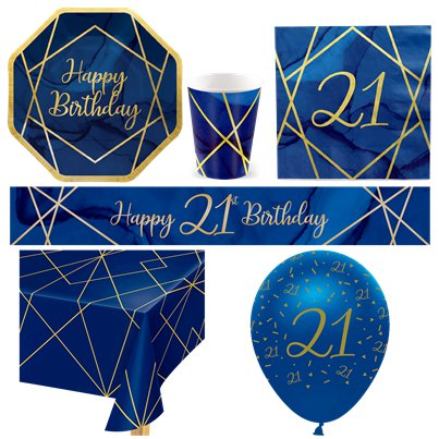 21st Navy & Gold Geode Party Pack - Deluxe Pack for 8