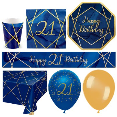21st Navy & Gold Geode Party Pack - Deluxe Pack for 16