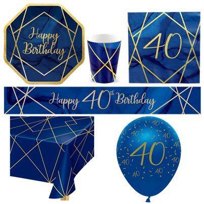 40th Navy & Gold Geode Party Pack - Deluxe Pack for 8