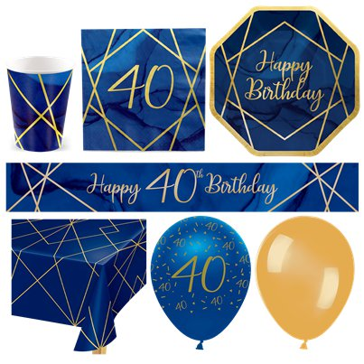 40th Navy & Gold Geode Party Pack - Deluxe Pack for 16