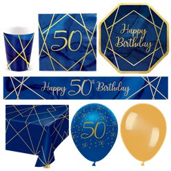 50th Navy & Gold Geode Party Pack - Deluxe Pack for 16