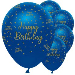 "Navy & Gold Geode Happy Birthday Balloons - 12"" Latex"