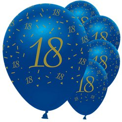 "Navy & Gold Geode 18th Birthday Balloons - 12"" Latex"