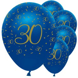 "Navy & Gold Geode 30th Birthday Balloons - 12"" Latex"