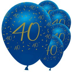 "Navy & Gold Geode 40th Birthday Balloons - 12"" Latex"