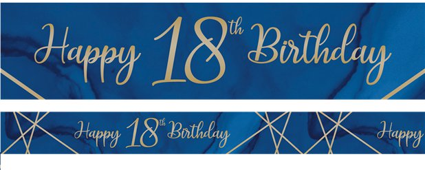 Navy & Gold Geode 18th Birthday Banner - 2.74m
