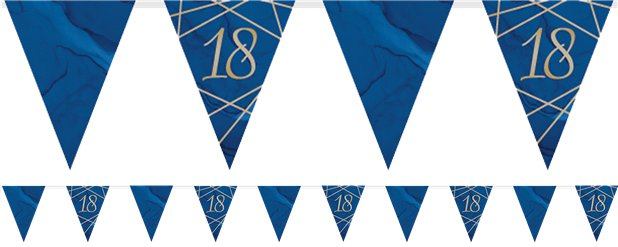 Navy & Gold Geode 18th Birthday Bunting - 3.7m