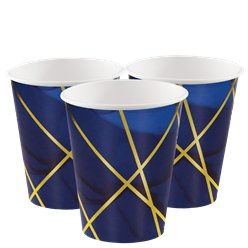 Geode Navy and Gold Foil Paper Cups - 354ml