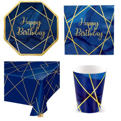 Navy & Gold Geode Happy Birthday Party Pack - Value Pack for 8