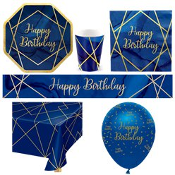 Navy & Gold Geode Happy Birthday Party Pack - Deluxe Pack for 8
